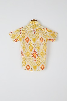 Yellow & Orange Printed Shirt by Yuvrani Jaipur Kidswear