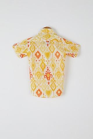 Yellow & Orange Printed Shirt by Yuvrani Jaipur Kidswear