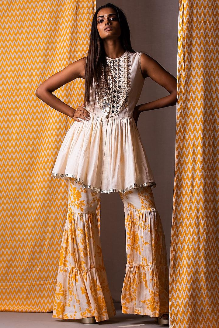 Orange Printed Sharara Set by Yogita Kadam