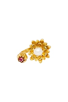Gold Plated Pearl & Pink Cz Ring by Zariin