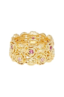 Gold Plated Pink Cz Ring by Zariin