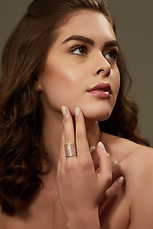 Gold Plated Enameled Ring by Zariin