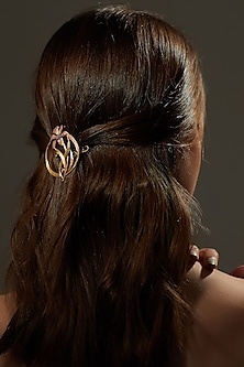 Gold Plated Swarovski Crystal Hair Clip by Zariin