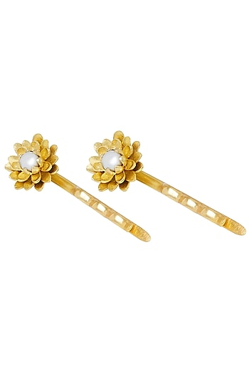 Gold Plated Pearl Hair Pin by Zariin