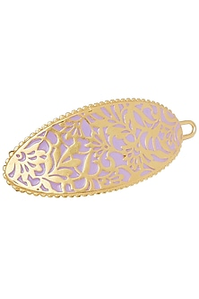 Gold Plated Lilac Enameled Hair Clip by Zariin