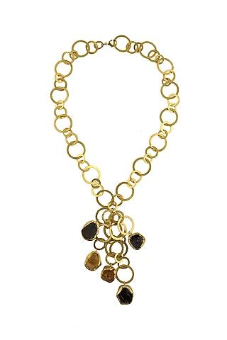 Gold Plated Smoky Topaz & Citrine Necklace by Zariin