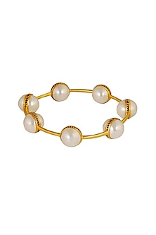 Gold Plated Pearl Bangle by Zariin