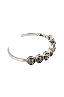 Black Rhodium Finish Pyrite Bangle by Zariin