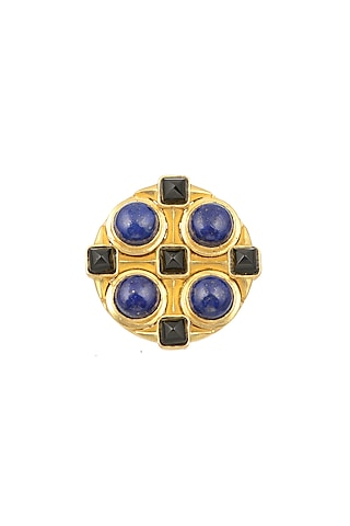 Gold Plated Blue Lapis Brooch by Zariin