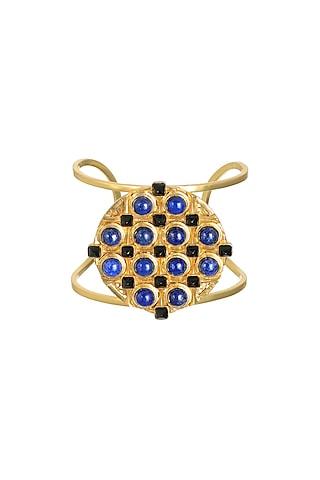 Gold Finish Coral Cuffs by Zariin