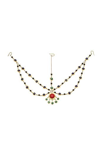 Gold Plated Red Coral Maang Tikka by Zariin