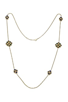 Gold Plated Malachite Long Necklace by Zariin