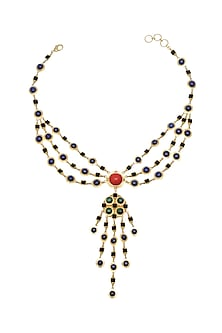 Gold Plated Red Coral Necklace by Zariin