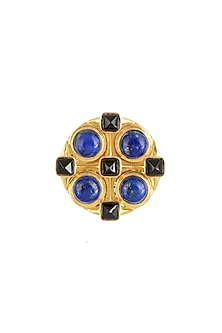 Gold Finish Black Onyx Ring by Zariin