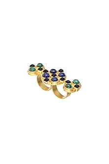 Gold Finish Malachite Ring by Zariin
