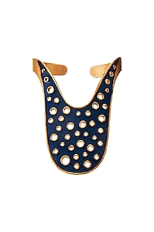 Gold Plated Blue Enamel Cuff by Zariin