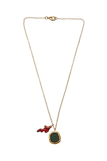 Gold Finish Red Enameled Necklace by Zariin