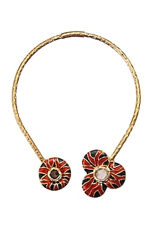 Gold Finish Citrine Choker Necklace by Zariin