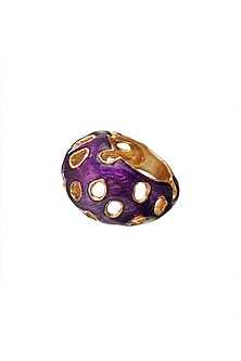 Gold Finish Pink Enameled Ring by Zariin