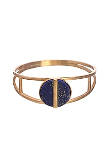 Gold Finish Blue Lapis Bangle by Zariin