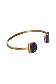 Gold Finish Lapis Bangle by Zariin