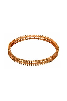 Rose Gold Finish Knockout Bangle by Zariin