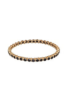 Gold Finish Black Onyx Bangle by Zariin