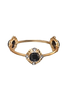 Gold Finish Onyx Bangle by Zariin