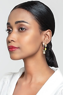 Gold Finish Glimmer Earrings With Swarovski Crystals by Zariin X Confluence