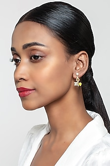 Gold Finish Wings Earrings With Swarovski Crystals by Zariin X Confluence