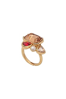 Gold Finish Real Deal Ring With Swarovski Crystals by Zariin X Confluence
