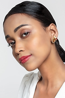 Gold Finish Real Deal Earring With Swarovski Crystals by Zariin X Confluence
