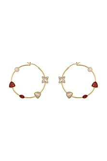 Gold Finish Hoop Earring With Swarovski Crystals by Zariin X Confluence