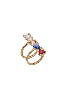 Gold Finish Color Coded Ring With Swarovski Crystals by Zariin X Confluence