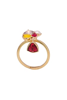 Gold Finish Ring With Swarovski by Zariin X Confluence