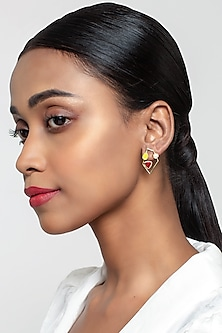 Gold Finish Power Earring With Swarovski Crystals by Zariin X Confluence