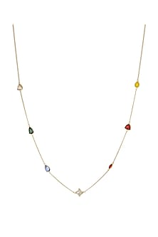 Gold Finish Bling Necklace With Swarovski Crystals by Zariin X Confluence