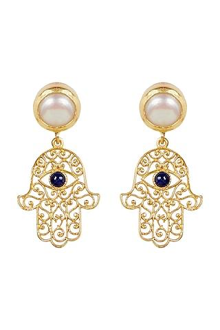 Gold Plated Evil Eye Earrings by Zariin