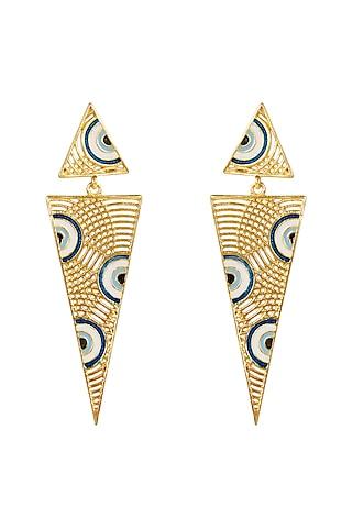 Gold Plated Evil Eye Enameled Earrings by Zariin