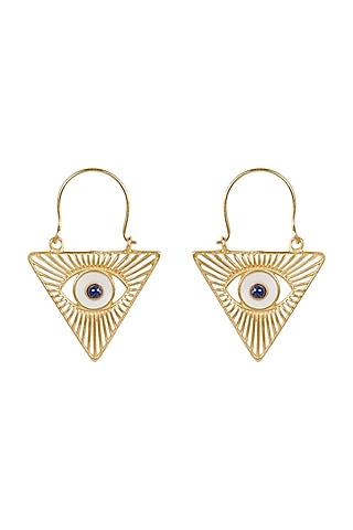 Gold Plated Blue Lapis Stud Earrings by Zariin