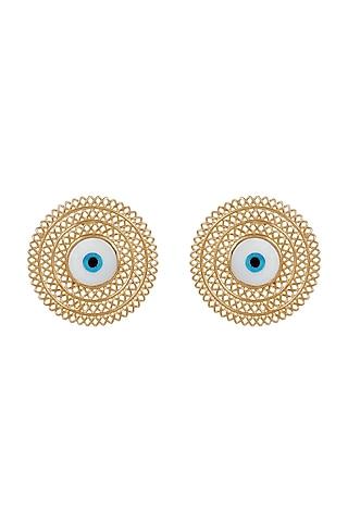 Gold Plated Enameled Stud Earrings by Zariin