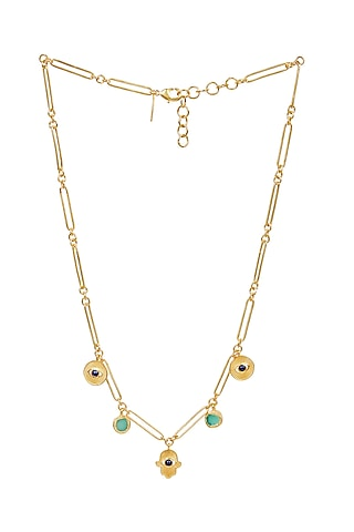 Gold Plated Green Chalcedony Necklace by Zariin