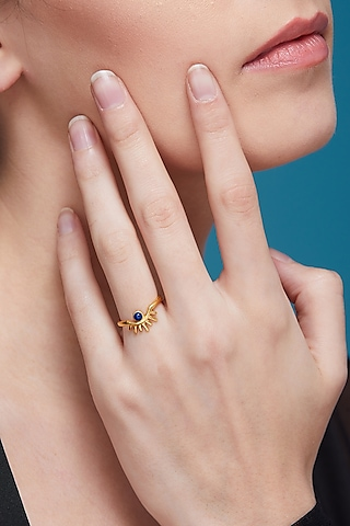 Gold Plated Blue Lapis Ring by Zariin