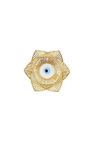 Gold Plated Blue Enameled Ring by Zariin