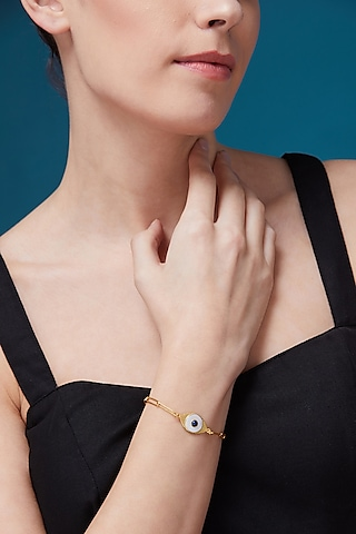 Gold Plated Pearl Bracelet by Zariin