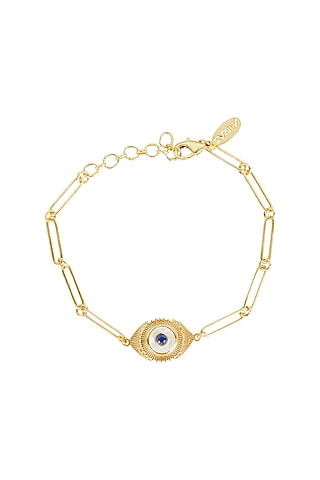 Gold Plated Blue Lapis Bracelet by Zariin