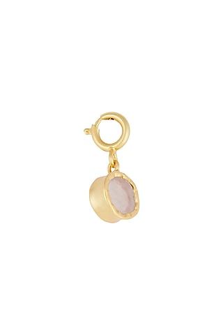 Gold Finish Rose Quartz Charm by Zariin