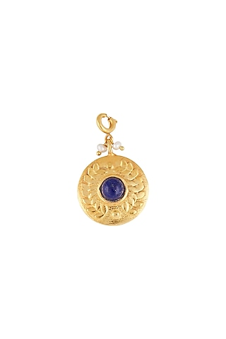 Gold Finish Blue Lapis Pearl Charm by Zariin
