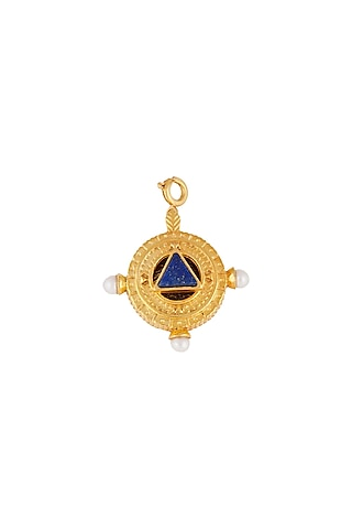 Gold Finish Pearl Lapis Charm by Zariin