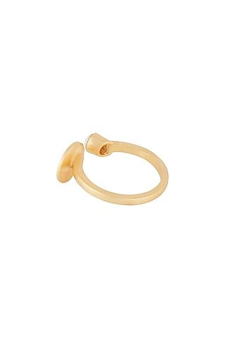 Gold Plated Pearl Ring by Zariin